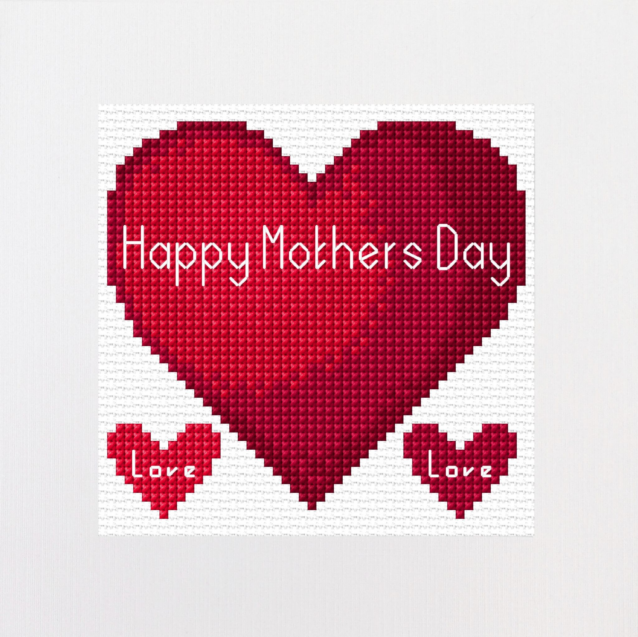 red heart happy mothers day design cross stitch card kit 5 5 x 5 5