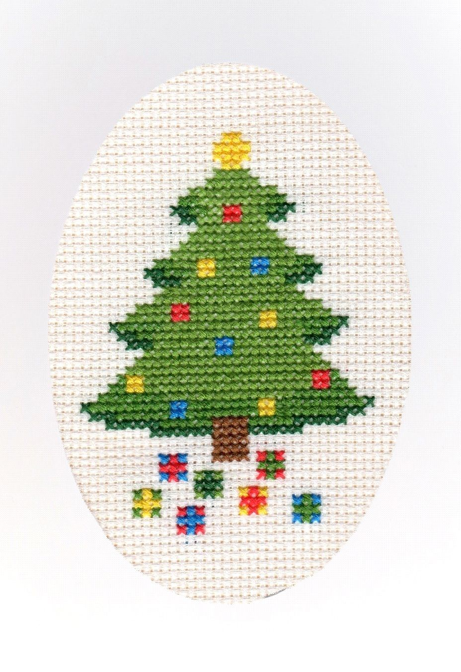 Christmas Tree & Presents - Cross Stitch A6 Card Kit