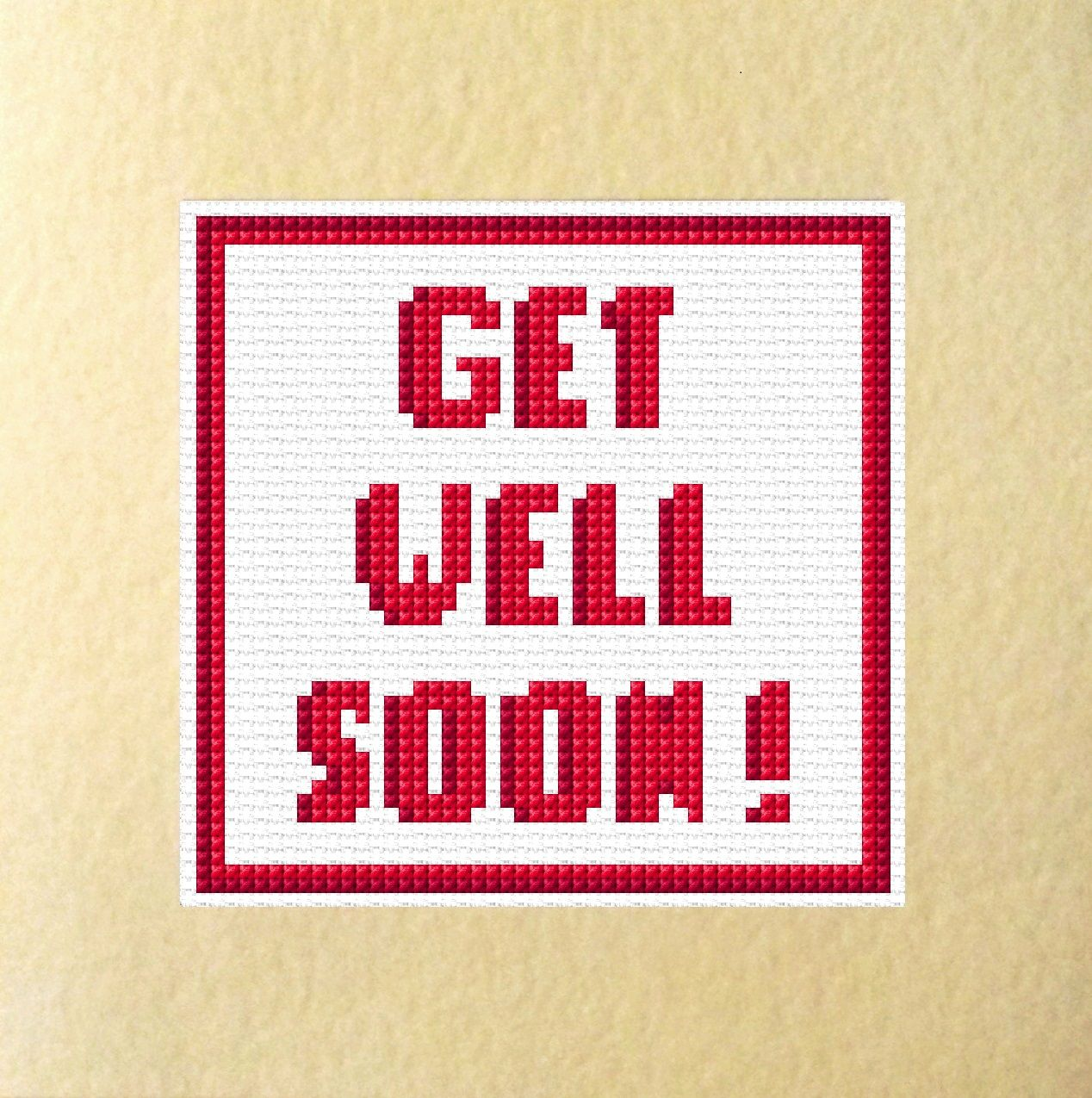 Get well soon red wording greeting card cross stitch kit 55 x 55 m4hsunfo