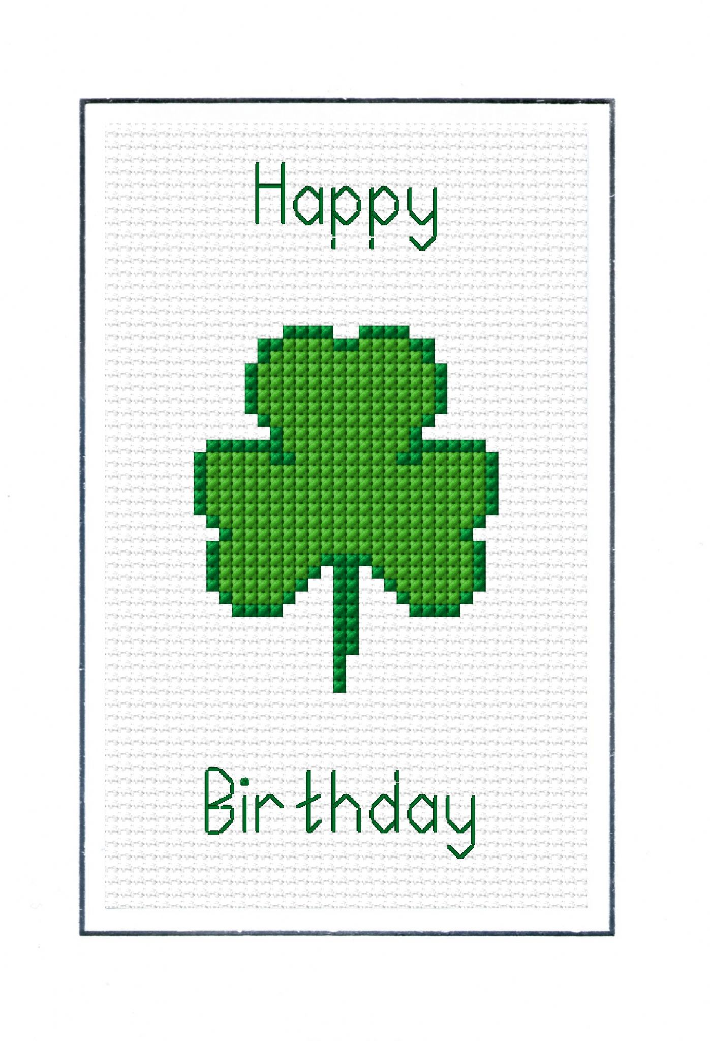 "Green Shamrock ""Happy Birthday"" Card - 14 Count Cross Stitch Kit"
