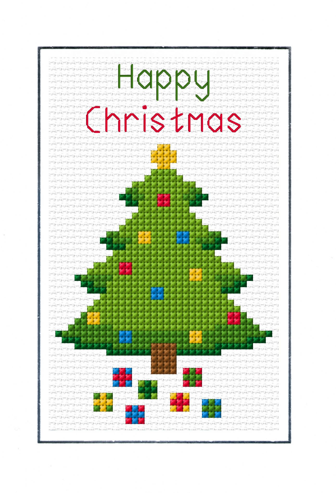 Happy Christmas Tree - Cross Stitch A6 Card Kit