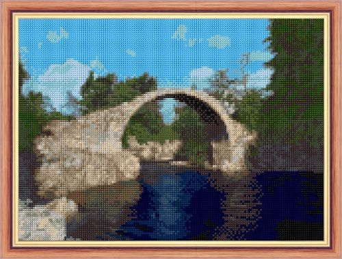 "Old Packhorse Bridge, Carrbridge - 14 Count Cross Stitch Design - 11"" x 8"""