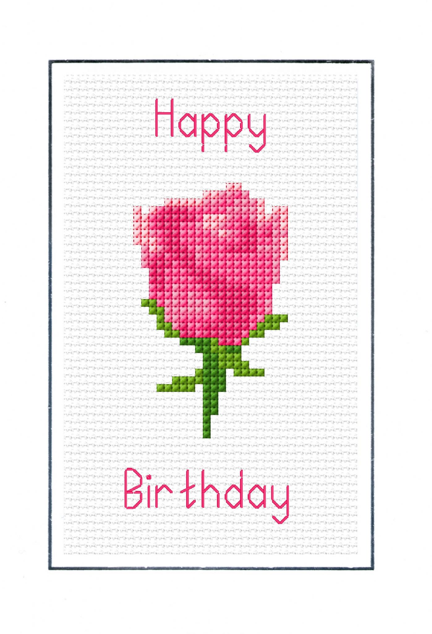 "Pink Rose ""Happy Birthday"" Card - 14 Count Cross Stitch Kit"