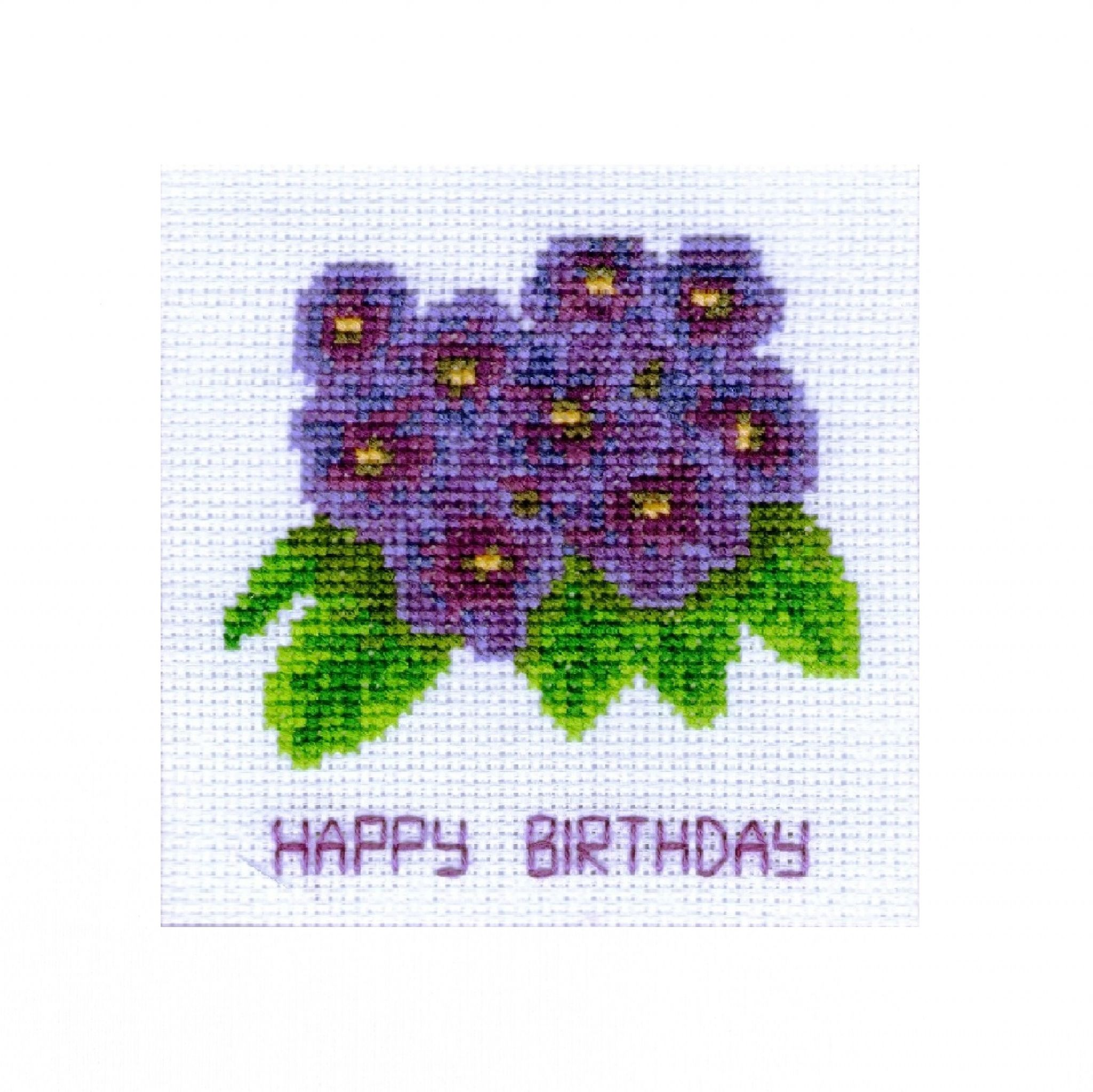 Flowers Happy Easter card a complete cross stitch kit with COLOUR chart