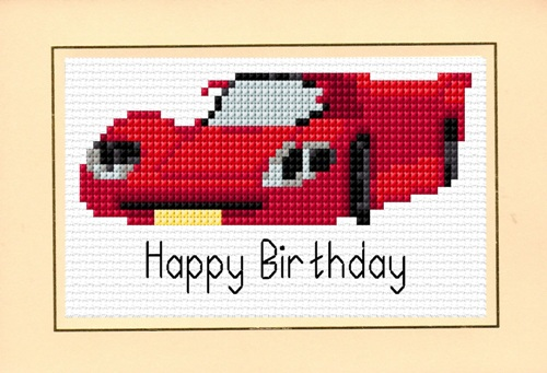 "Racing Car ""Happy Birthday"" - Red, Blue & Green Cross Stitch Card Kits"