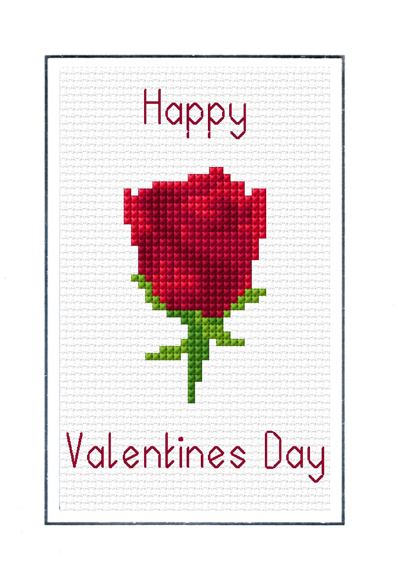Red Rose Happy Valentines Day Card - 14 Count Cross Stitch Kit