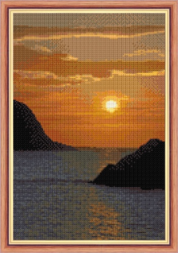 "Water/Sea Sunset on the Rocks - 14 Count Cross Stitch Design - 8"" x 12"""