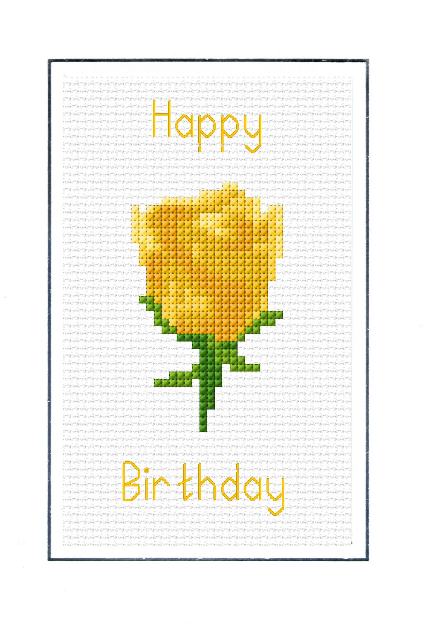 Yellow Rose Happy Birthday Card 14 Count Cross Stitch Kit